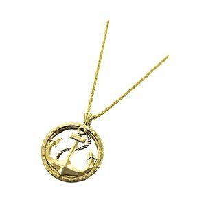 Goldtone Anchor Magnifier Glass Pendant Necklace